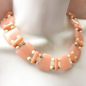 TRIFARI Vintage Pink and Cream Lucite Necklace